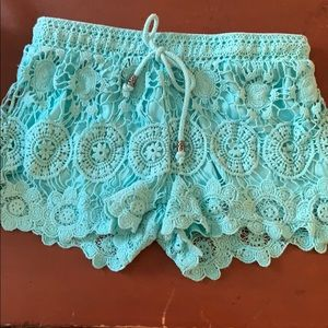 Turquoise crocheted shorts
